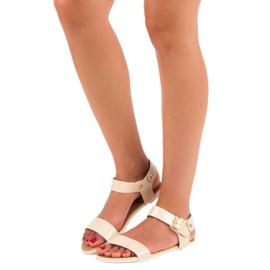Beżowe sandały płaskie vices beżowy 5