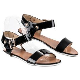 Czarne sandały płaskie vices 2