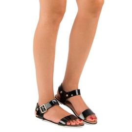 Czarne sandały płaskie vices 5