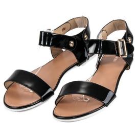 Czarne sandały płaskie vices 1