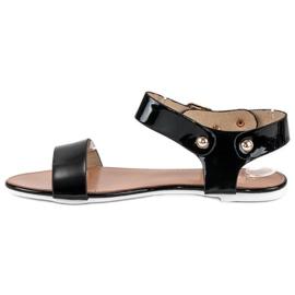 Czarne sandały płaskie vices 3