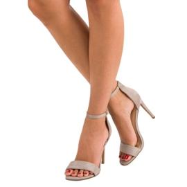 Seastar Zamszowe sandały na szpilce szare 6