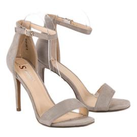 Seastar Zamszowe sandały na szpilce szare 5