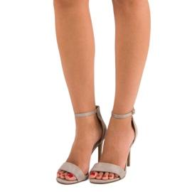 Seastar Zamszowe sandały na szpilce szare 1
