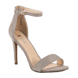 Seastar Zamszowe sandały na szpilce szare 2