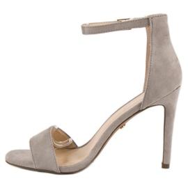 Seastar Zamszowe sandały na szpilce szare 3