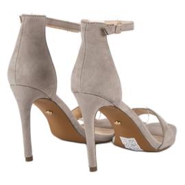 Seastar Zamszowe sandały na szpilce szare 4
