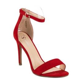 Seastar Zamszowe sandały na szpilce czerwone 2