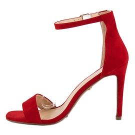 Seastar Zamszowe sandały na szpilce czerwone 3