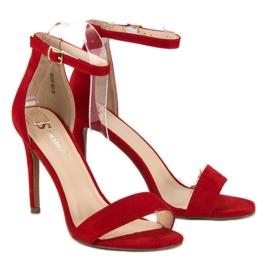 Seastar Zamszowe sandały na szpilce czerwone 5