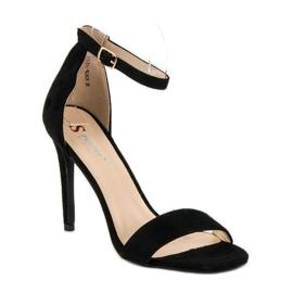 Seastar Zamszowe sandały na szpilce czarne 2