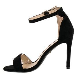 Seastar Zamszowe sandały na szpilce czarne 3