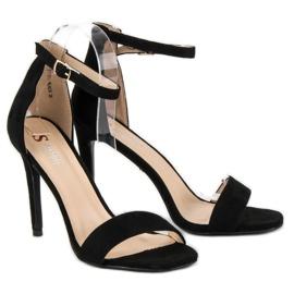 Seastar Zamszowe sandały na szpilce czarne 5