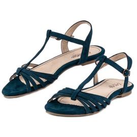 Corina Granatowe Płaskie Sandały niebieskie 2