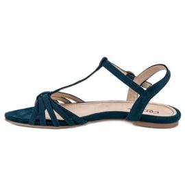 Corina Granatowe Płaskie Sandały niebieskie 1