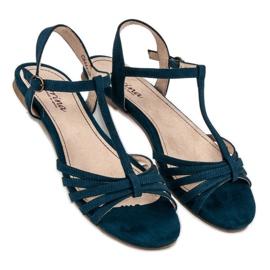Corina Granatowe Płaskie Sandały niebieskie 3