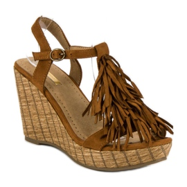 Corina Brązowe sandały z frędzlami 2