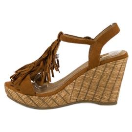Corina Brązowe sandały z frędzlami 3