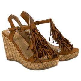 Corina Brązowe sandały z frędzlami 5