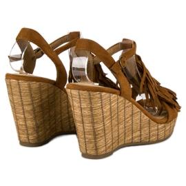 Corina Brązowe sandały z frędzlami 4