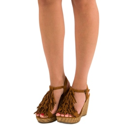 Corina Brązowe sandały z frędzlami 6