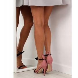 Sandałki na szpilce z uszkami ZJ-15P Pink różowe 1