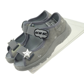 Sandałki dziewczęce Befado 969y122 szary szare 5