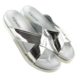 Klapki mirror look srebrne CK46P silver szare 4