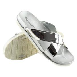 Klapki mirror look srebrne CK46P silver szare 2