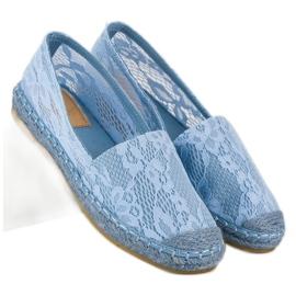 Seastar Błękitne koronkowe espadryle niebieskie 8