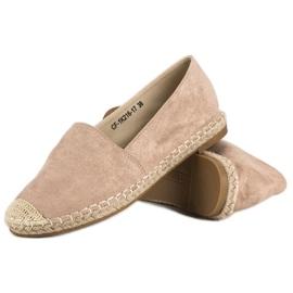 Best Shoes Beżowe zamszowe espadryle beżowy 4