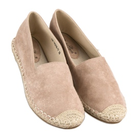 Best Shoes Beżowe zamszowe espadryle beżowy 5