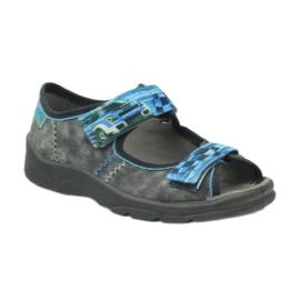 Sandałki kapcie na rzepy Befado 969x117 niebieskie szare 1