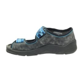 Sandałki kapcie na rzepy Befado 969x117 niebieskie szare 2