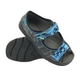 Sandałki kapcie na rzepy Befado 969x117 niebieskie szare 3