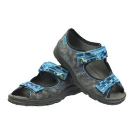 Sandałki kapcie na rzepy Befado 969x117 niebieskie szare 4