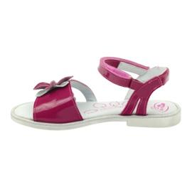 Sandałki buty dziecięce z kwiatkiem Ren But 4166 szare różowe 2