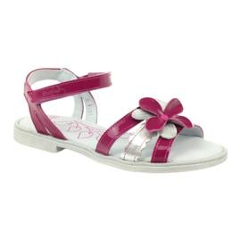 Sandałki buty dziecięce z kwiatkiem Ren But 4166 szare różowe 1