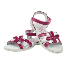 Sandałki buty dziecięce z kwiatkiem Ren But 4166 szare różowe 3