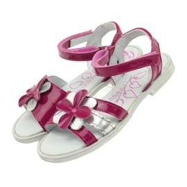 Sandałki buty dziecięce z kwiatkiem Ren But 4166 szare różowe 4