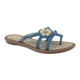 Rider Klapki buty dziecięce japonki z kwiatkiem do wody Grendha niebieskie 2