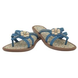 Rider Klapki buty dziecięce japonki z kwiatkiem do wody Grendha niebieskie 4