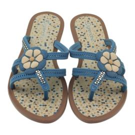 Rider Klapki buty dziecięce japonki z kwiatkiem do wody Grendha niebieskie 5