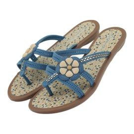 Rider Klapki buty dziecięce japonki z kwiatkiem do wody Grendha niebieskie 6