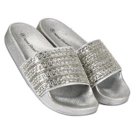 Eleganckie srebrne klapki szare 1