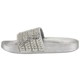 Eleganckie srebrne klapki szare 5