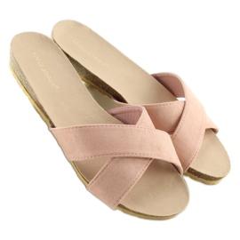 Klapki damskie zamszowe różowe SR-2812 pink 4