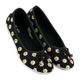 Materiałowe Baleriny W Kwiaty czarne 5