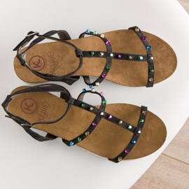Sandałki Na Koturnie KYLIE czarne 5