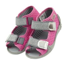 Befado 242p083 sandały różowe w kropki czarne szare 4